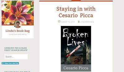 Il thriller Broken Lives sul blog Linda's Book Bag